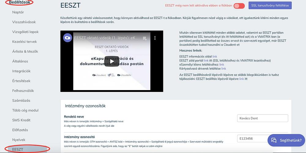 EESZT Hard Token kezdeti beállítás a Cloudent Fogászati Szoftveren belül.