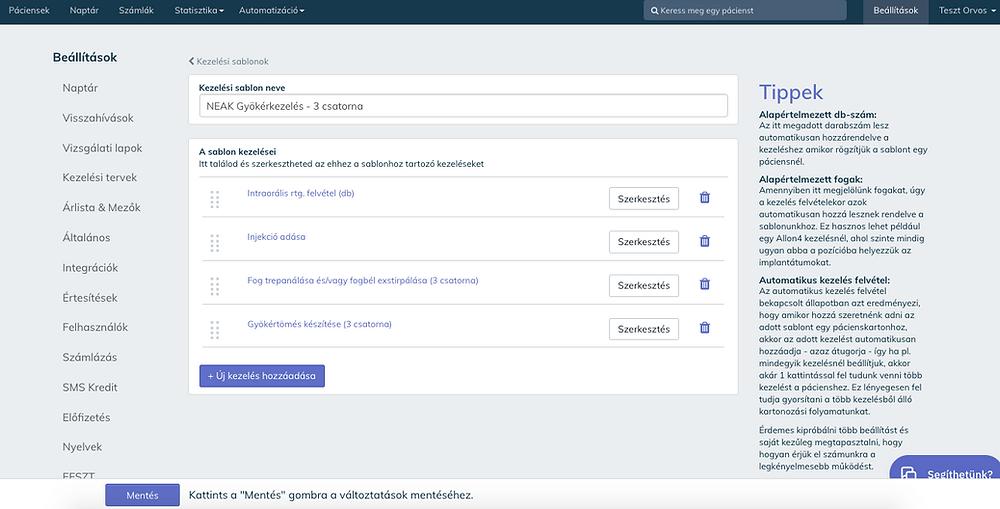 A Cloudent Fogászati Szoftveren belül néhány kattintással állítható össze a NEAK kezelési sablon.