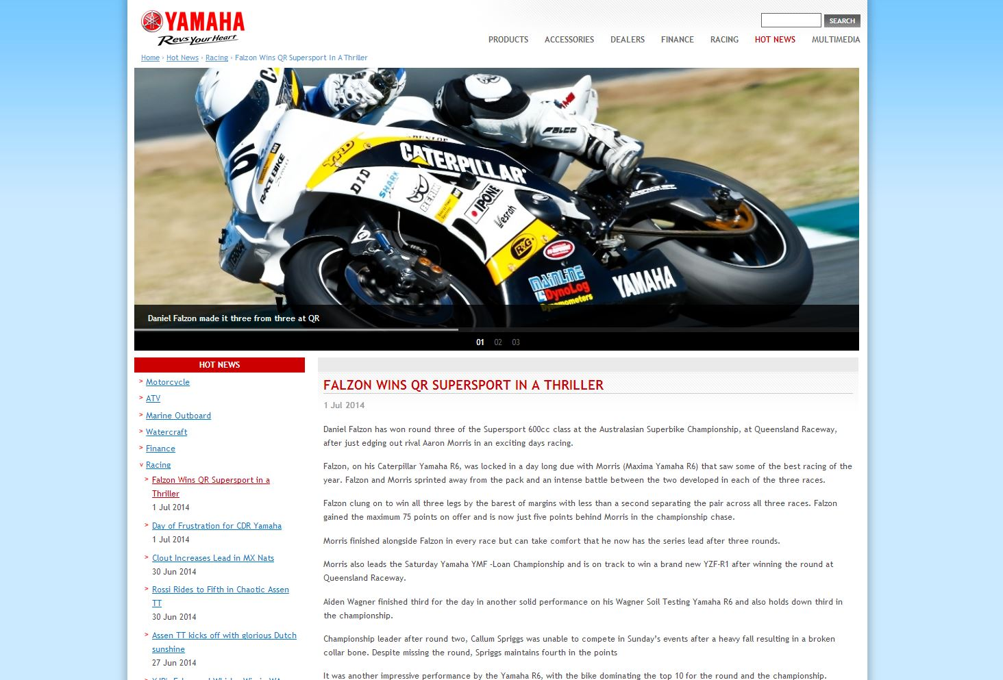 1/7/14 Yamaha Website