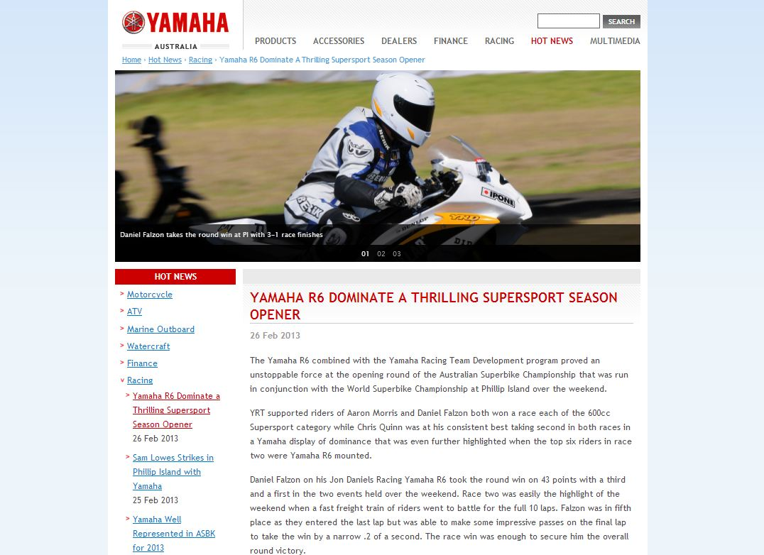 2013-02-26 Yamaha Australia Website