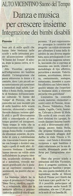 """Articolo de """"Il Gazzettino"""" sull'associazione """"Il Suono del Tempo"""""""
