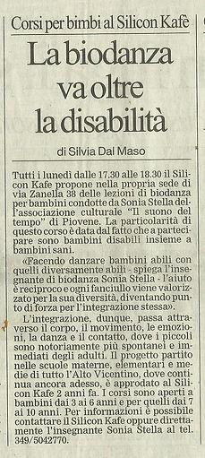"""Articolo de """"Il Giornale di Vicenza"""" sull'associazione """"Il Suono del Tempo"""""""