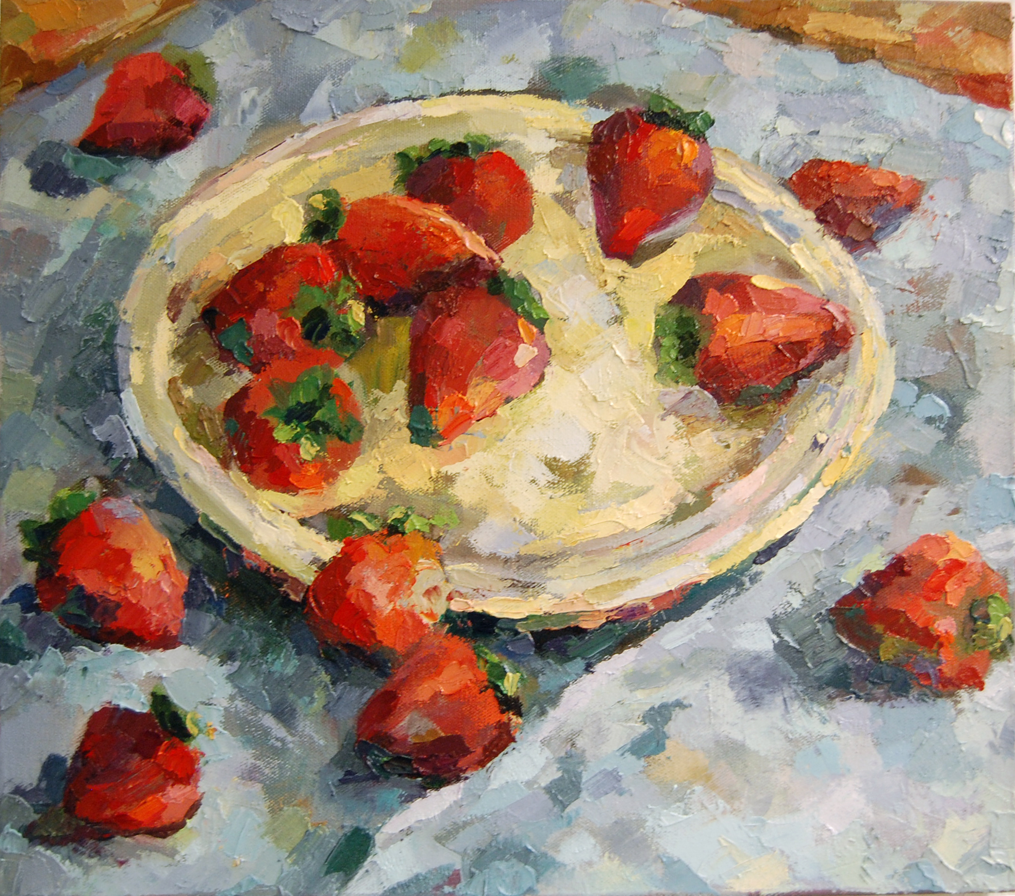 Strawberries on a Yellow Plate, Oil on canvas, 2011
