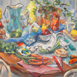 Still Life with Carrots, Oil on Canvas