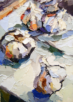 Four Garlic Stylized, Oil on canvas board, 7 x 5in, 2011