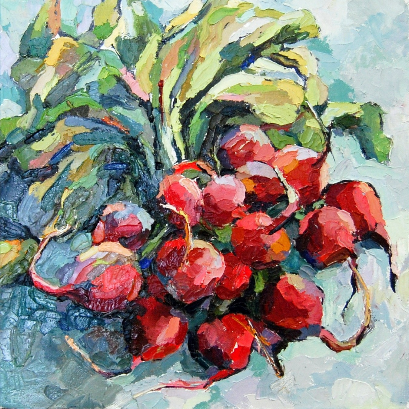 Radishes, Oil on panel, 2014