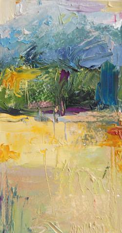 Bridgton, ME Landscape #4, Oil on paper, 7 x 3.5in, 2010