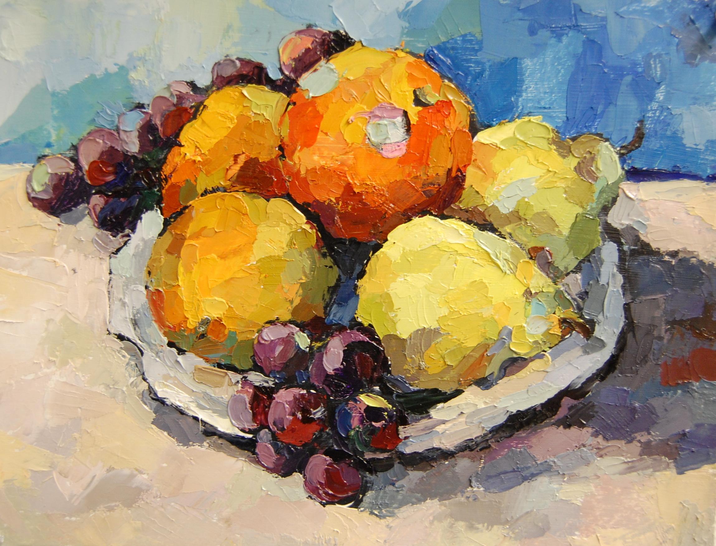 Fruit Still-Life, Oil on paper, 2011