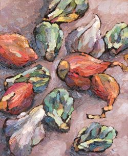 Shallots, Garlic, & Brussels Sprouts, Oil on canvas board, 8 x 10in, 2012