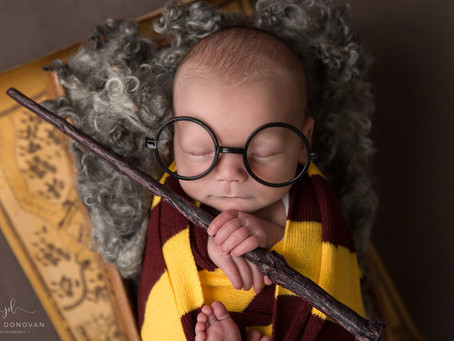Harry Potter style newborn baby photoshoot
