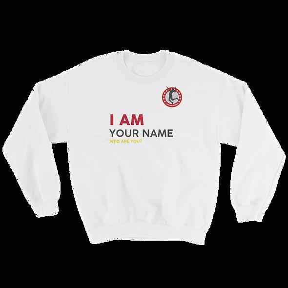 I AM Custom White Crew