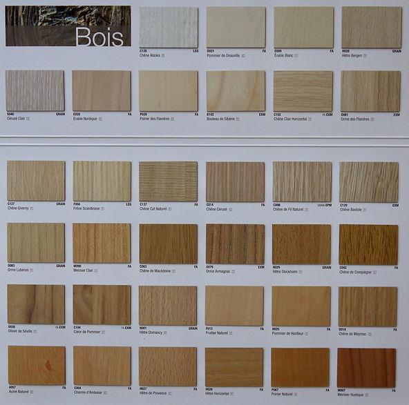 nuancier couleurs bois