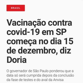 Vacinação contra covid-19 em SP começa no dia 15 de dezembro, diz Doria