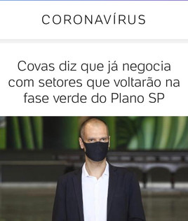 Covas diz que já negocia com setores que voltarão na fase verde do Plano SP