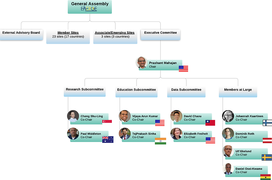EMERGE Org chart with pictures and flags