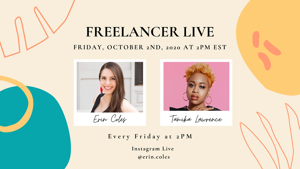 Photo of Erin Coles and Tamika Lawrence advertising Freelancer Live