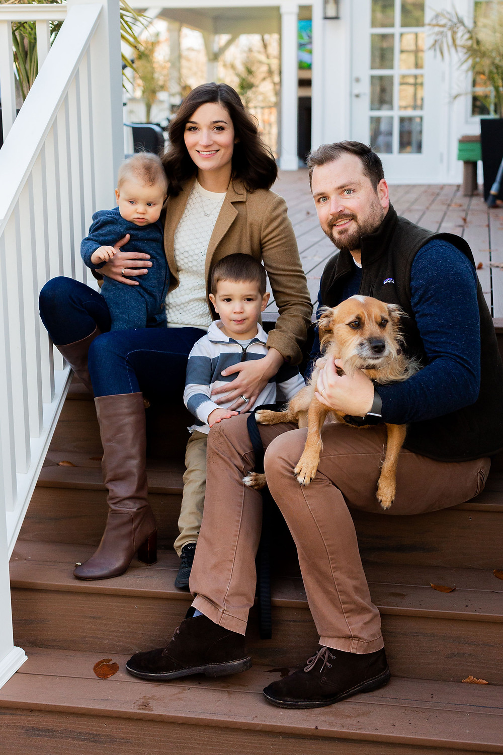 Amanda, Dane, their two sons, and their dog