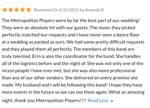 Review by Amanda and Dane for the Metropolitan Players