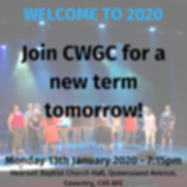 WELCOME TO 2020 Join CWGC for a new term