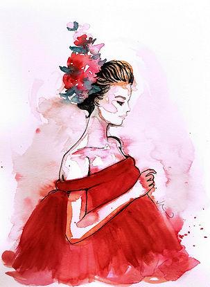 acquerello donna fiori