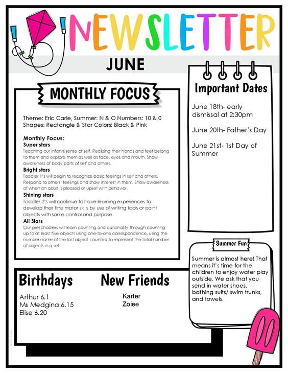 June Newsletter pg 1