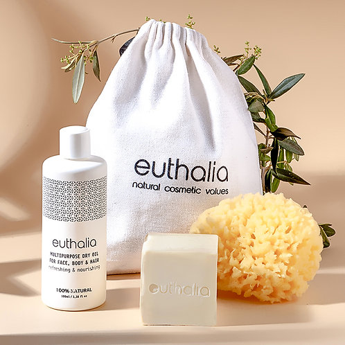 Gift bag Multipurpose Dry Oil 100ml + Handmade Olive Soap 50g + Natural Sponge