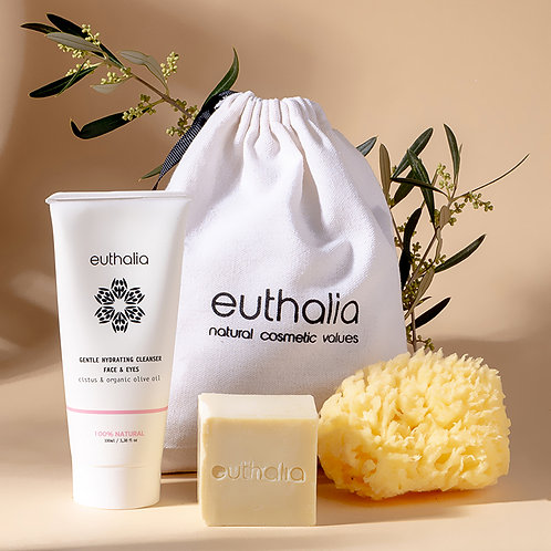 Gift bag Gentle Hydrating Cleanser + Handmade Olive Soap + Natural Sponge