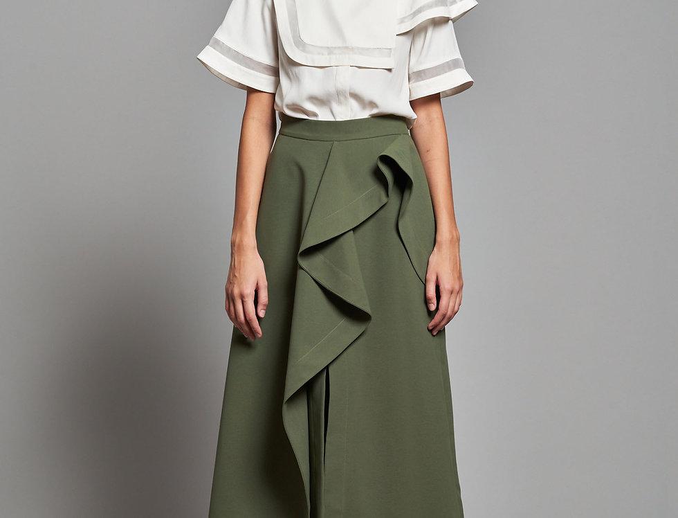 Asymmetric Ruffle Split Skirt