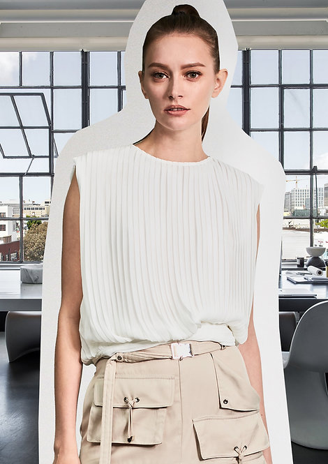 Pleating Blouse with Silver Rings