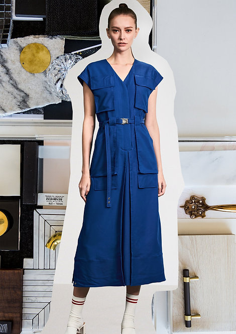 Pockets Pant-like Dress with Silver Ring