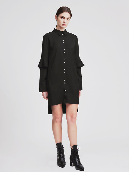 Ruffle Sleeves Shirt Dress