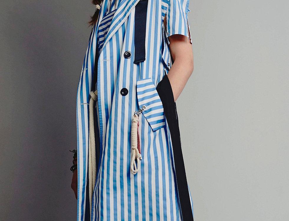 Stripe Sleeveless Trench