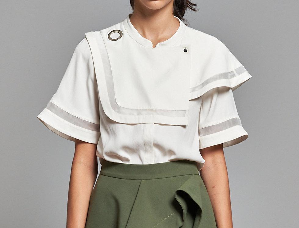 Asymmetric Layered Trimming Shirt
