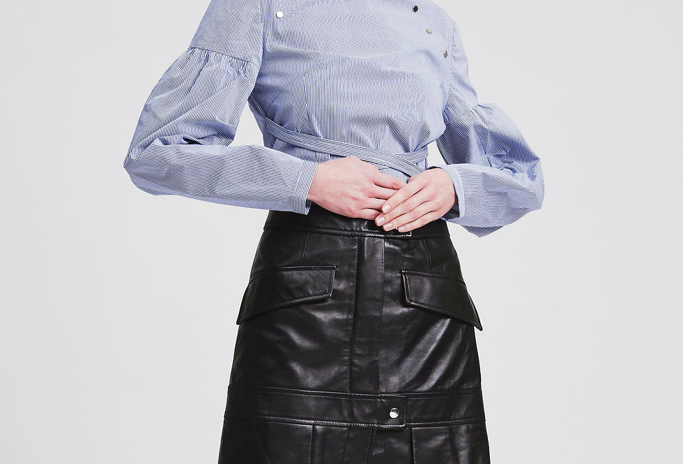 Snapped Leather Pleats Skirt