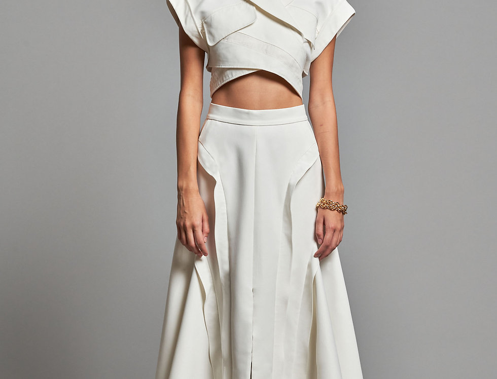 Wavy Volume Flared Skirt