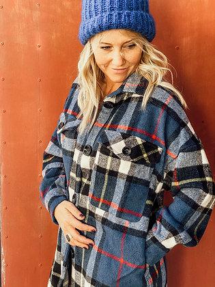 Oversized wool checked jacket