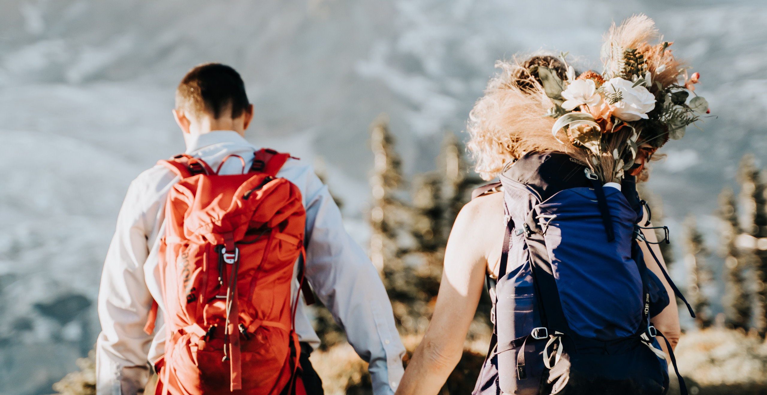 Bride and Groom holding hands hiking up to Mt. Rainier with hiking backpacks on.  Wedding bouquet is hanging outside the backpack and Mt. Rainier is in the background