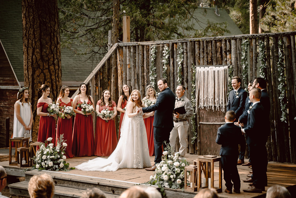 A outdoor wedding ceremony at Camp Sylvester in Pinecrest California