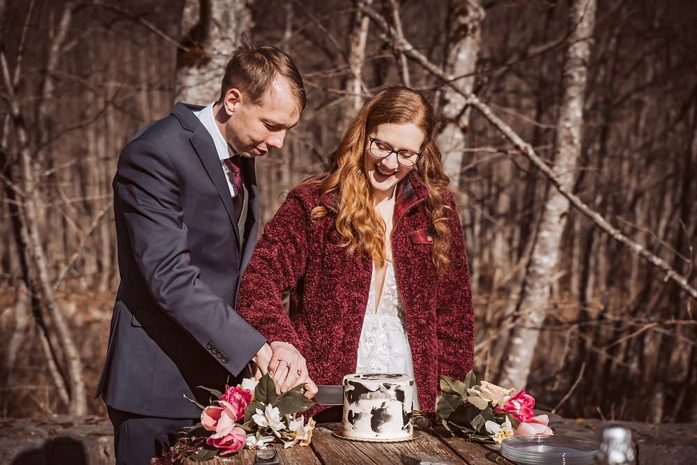 A bride and groom cutting a small mountain cake for their reception for their Mt. St. Helens Elopement