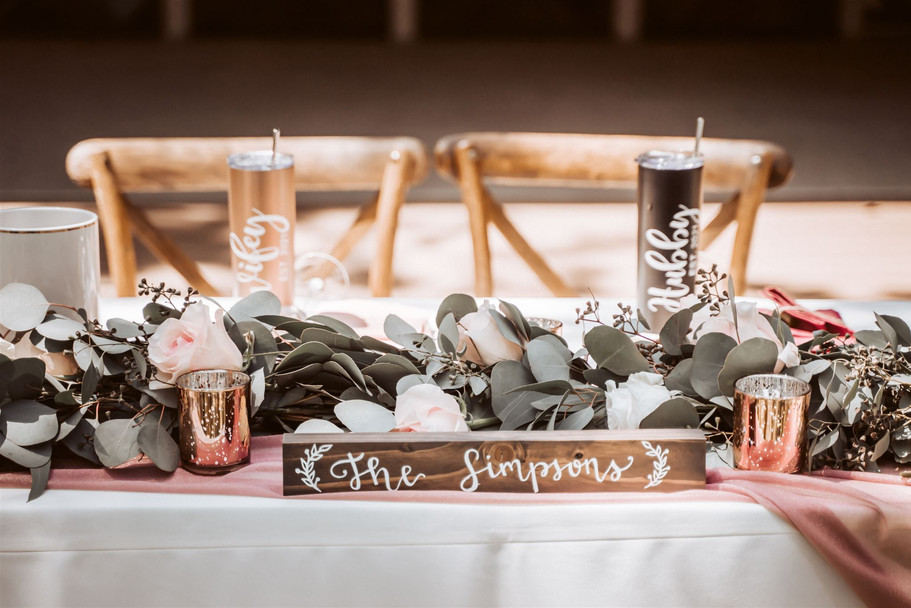 The head table decorations at their wedding day