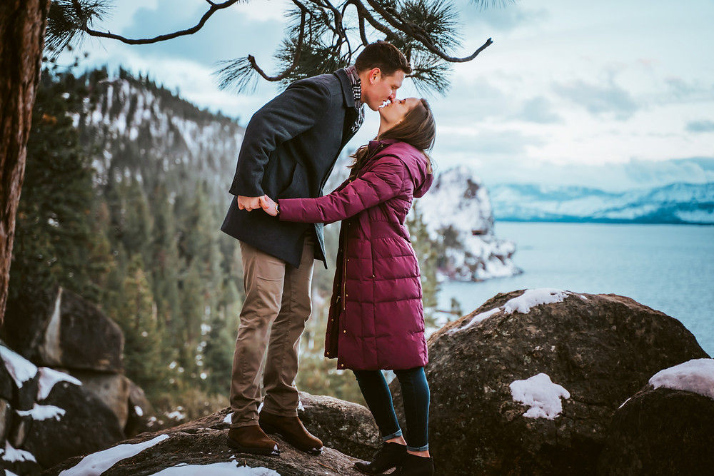 Snowy Engagement Photos in Tahoe