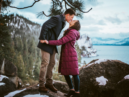 Snowy Engagement Photos in Tahoe!