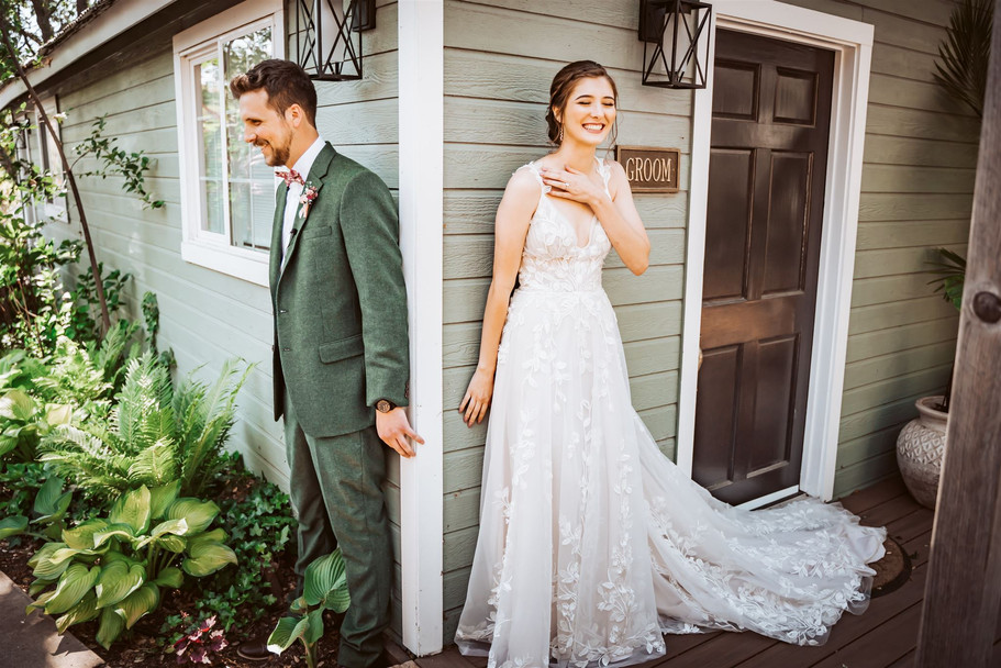 A couples first touch on their wedding day at Gardens of Sutter Creek California