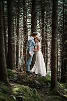 A wedding couple standing on a mossy covered tree in the forest for their california wedding