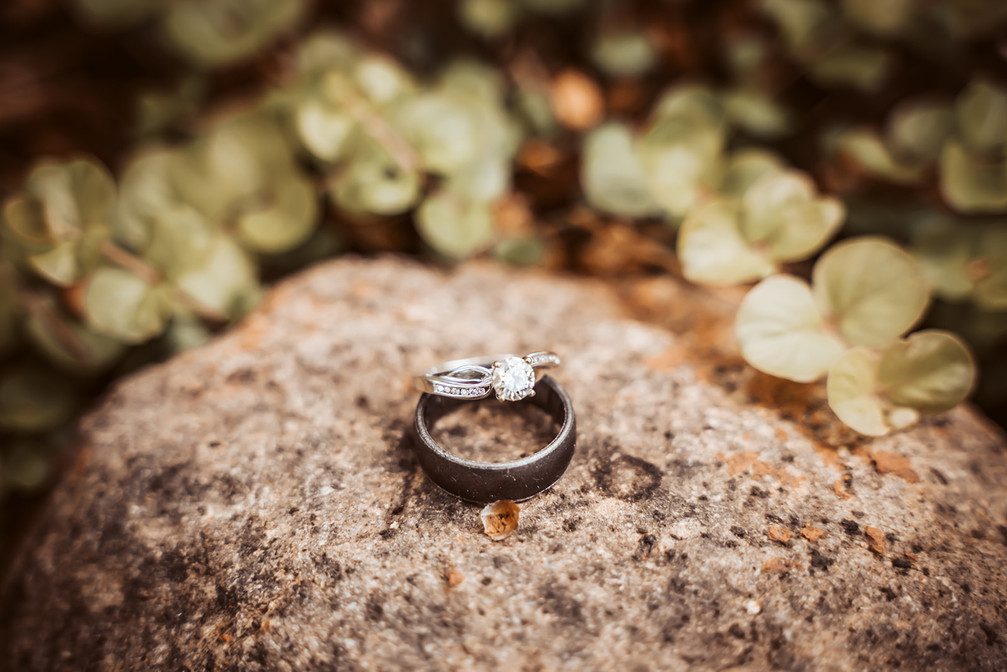 A close up picture of a couple wedding rings sitting on a rock with green grass around it