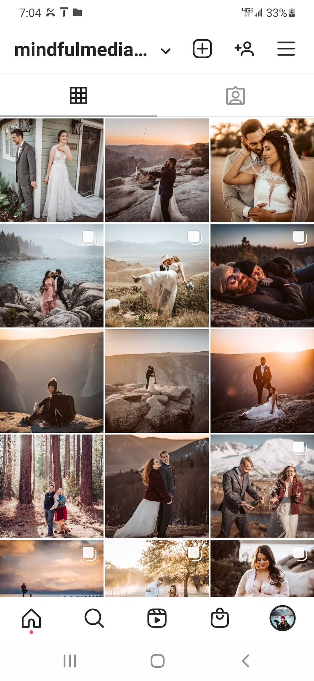 A sample of an instagram feed and what it looks like with pictures of wedding eloping couple for adventure elopements