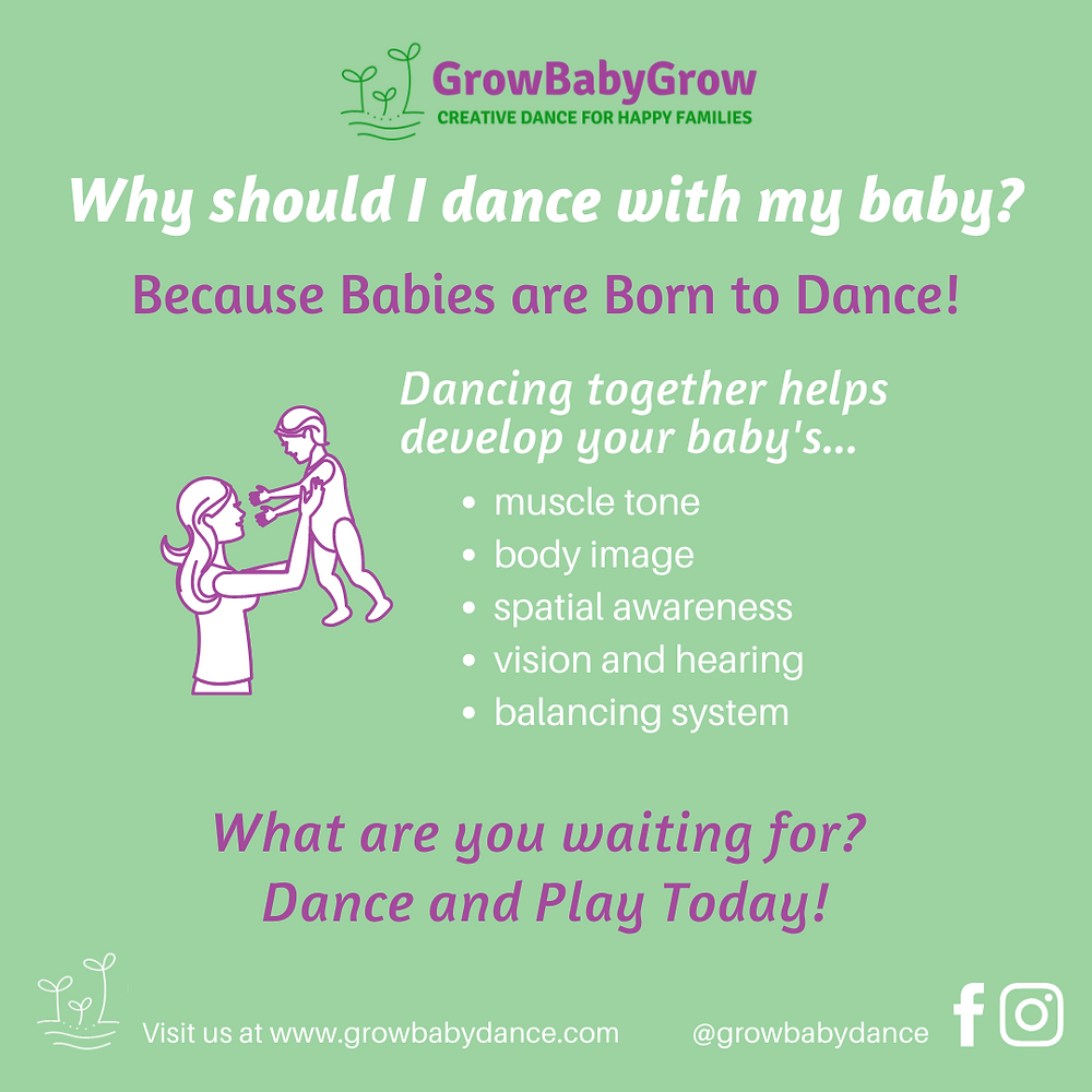 Text graphic showing a mother and baby. Describes benefits of dancing with babies