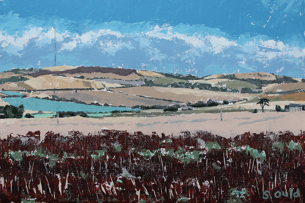 Palette knife painting of St Catherine's Down, Isle of Wight