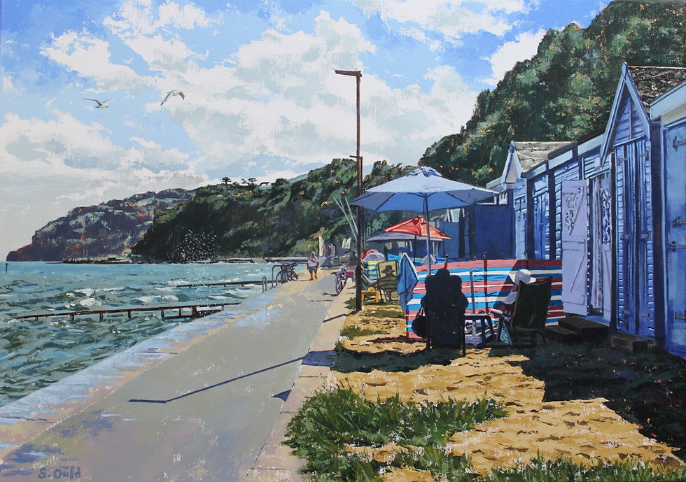 Beach hut and summer seascape scene