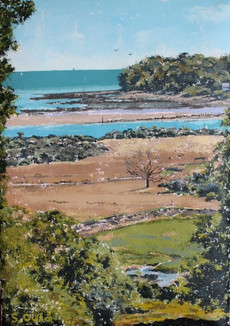 Looking across St Helens Duver to entrance to Bembridge Harbour, Isle of Wight